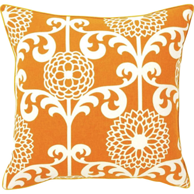 Floret Orange Pillow contemporary-decorative-pillows