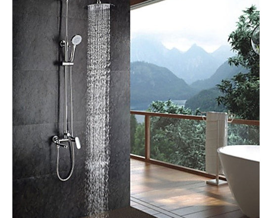 Shower Faucets - Contemporary Chrome Finish Shower Faucet with Handheld and 8 Inch Showerhead-- FaucetSuperDeal.com