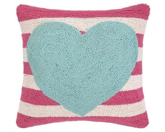 PHI - PHI Blue Heart Pink Striped Pillow - Square pillow by PHI