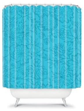 DENY Designs Khristian A Howell Flowers Shower Curtain modern-shower-curtains