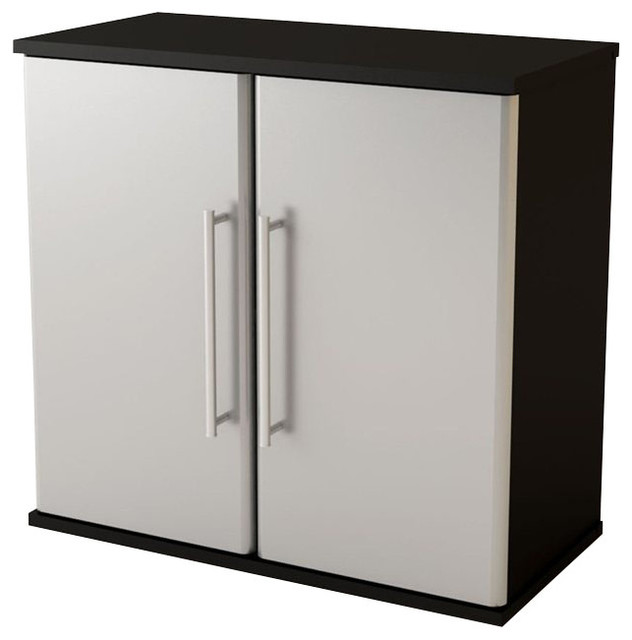 Ameriwood Wall Cabinet in Steel Gray transitional-storage-and-organization