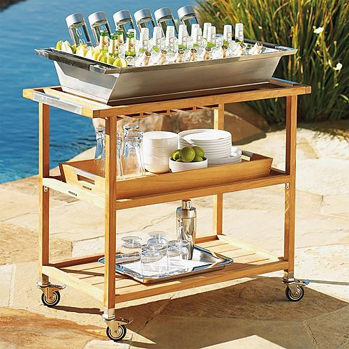 Brown Bar Cart with Two Small Brown Trays contemporary-bar-carts