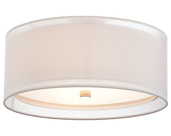 """Possini Euro Design - Double Drum 18"""" Wide White Ceiling Light - A white hardback inner shade is enclosed by an elegant silver organza fabric outer shade for a captivating effect. An acrylic diffuser creates a soft glow. With polished nickel finish hardware. A distinguishing decor accent. Polished nickel finish. Double drum shade design. Takes three 60 watt bulbs (not included). 18"""" wide. 7 1/2"""" high.  Double drum shade design.  White inner shade.  Silver Organza outer shade.  Polished nickel finish.  Takes three 60 watt bulbs (not included).  18"""" wide.  9"""" high.  Canopy is 5"""" wide 1/2"""" high."""