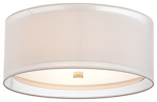 Modern Drum Ceiling Lights : Double drum quot wide white ceiling light contemporary