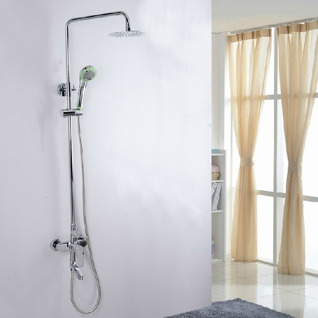 Highly Polished Shower Faucet Set with Shower Head modern-showers