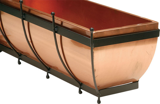 """H Potter Classic Copper Window Box 30"""" traditional-outdoor-planters"""