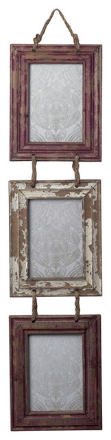Sterling 128-1026 Set Of Picture Frames With Natural Rope Hanger rustic-picture-frames