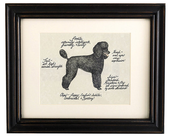 Ballard Designs - Poodle Dog Print - Hand colored & signed. Printed on parchment. Eggshell mat. Antique black frame. Our Poodle Dog Print was created by the dog-loving, husband and wife team of Vivienne and Sponge. The Poodle is known for being extremely intelligent, friendly and lively. Each Poodle portrait is hand colored and embellished with notes on the breed's special characteristics. Printed on antiqued parchment, signed by the artists and framed in antique black wood with eggshell mat and glass front. Poodle Dog Print features: . . . . *Please note that personalized items are non-returnable.
