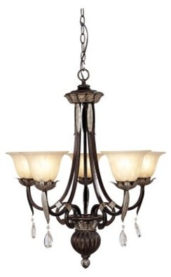 Livex Orleans 8145-40 Chandelier - Hand Rubbed Bronze with Antique Silver Accent modern chandeliers