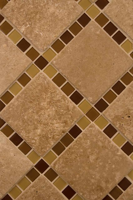 Brown Blend Glass And Tuscany Walnut Travertine tile
