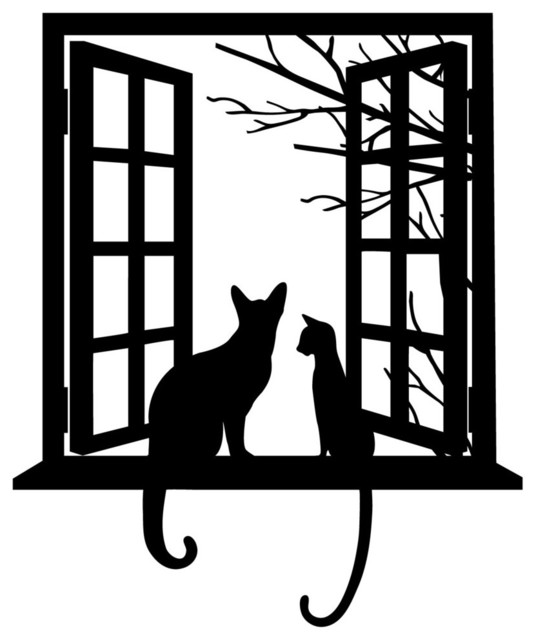 Modern Wall Decor Decals : Cat looking through window silhouette modern wall