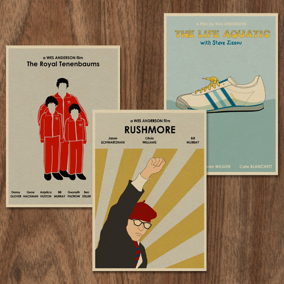 Wes Anderson Set of 3 Limited Edition Prints by Monster Gallery traditional-prints-and-posters