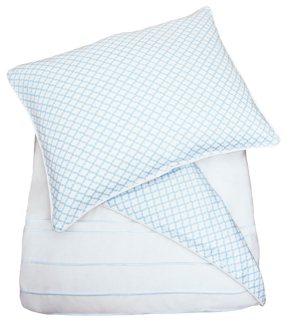 300 Thread Count Reversible and Embroidered Duvet Cover, The Page Blue modern-duvet-covers-and-duvet-sets