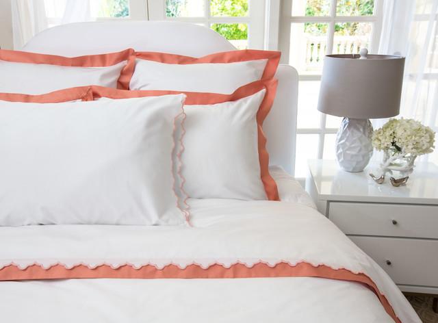 400 Thread Count  Hotel Collection Border Bedding  Duvet, The Linden Coral mediterranean-duvet-covers-and-duvet-sets