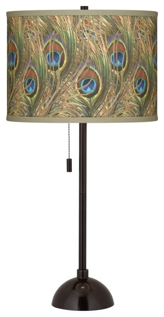 Contemporary Iridescent Feather Giclee Glow Bronze Club Table Lamp contemporary-table-lamps