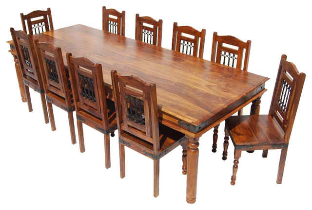 11 Piece Solid Wood Rustic Dining Set Rustic Dining Sets
