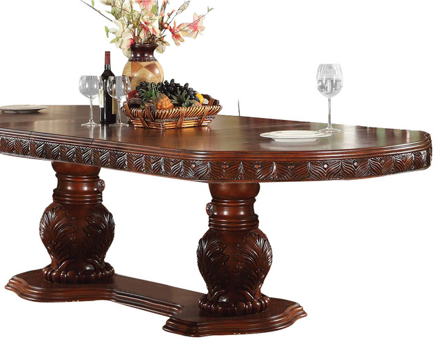 Acme Quinlan Oval Shaped Double Pedestal Table In Cherry