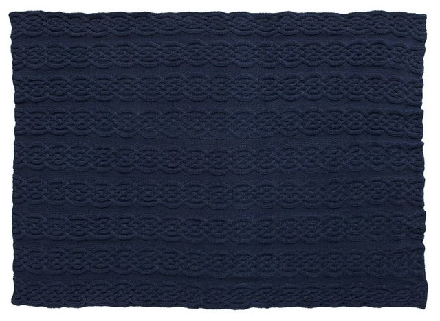 Cozy Cable Knit Throw, Navy traditional-throws