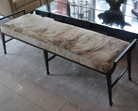 Showroom Pieces - Cowhide Bench for more info call us (305)576-4566!