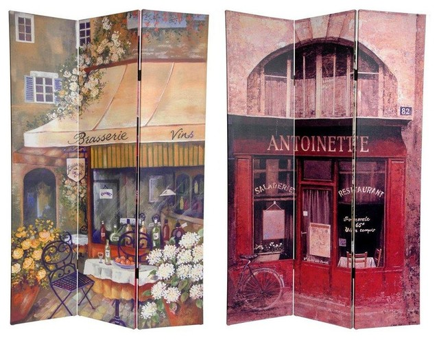 6 ft. Tall Double Sided Brasserie Canvas Room Divider eclectic-screens-and-room-dividers