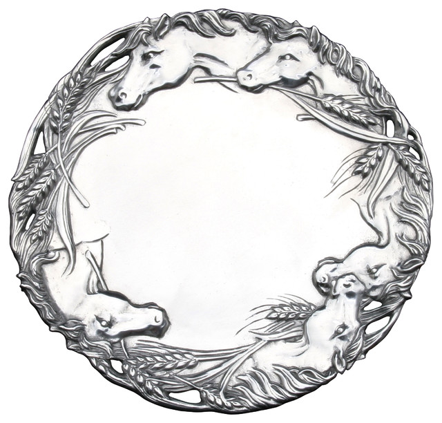 """Horse 12"""" Round Tray traditional-serving-dishes-and-platters"""