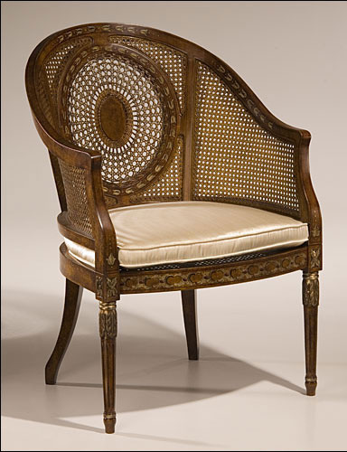 Regency Style Armchair with Hand Painted Floral Design armchairs-and-accent-chairs