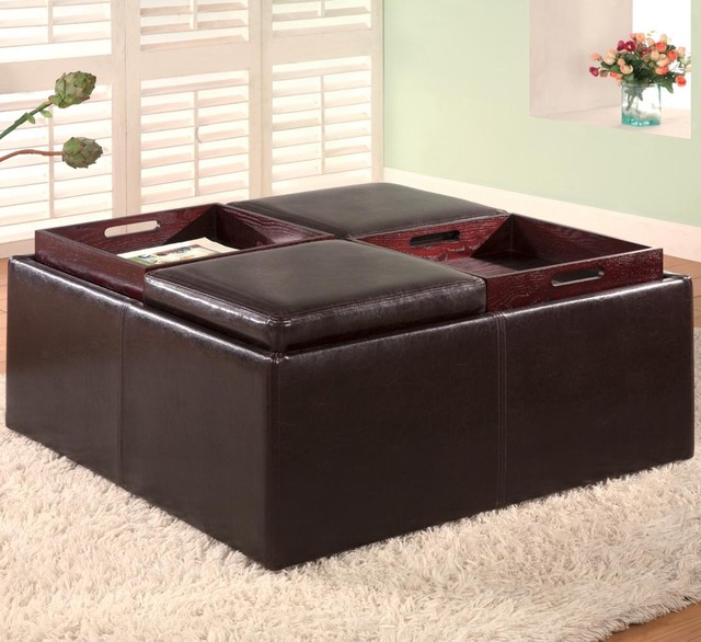 Ottomans Brussels Brown Bonded Leather Storage Chest: Ottomans Contemporary Square Faux Leather Storage Ottoman