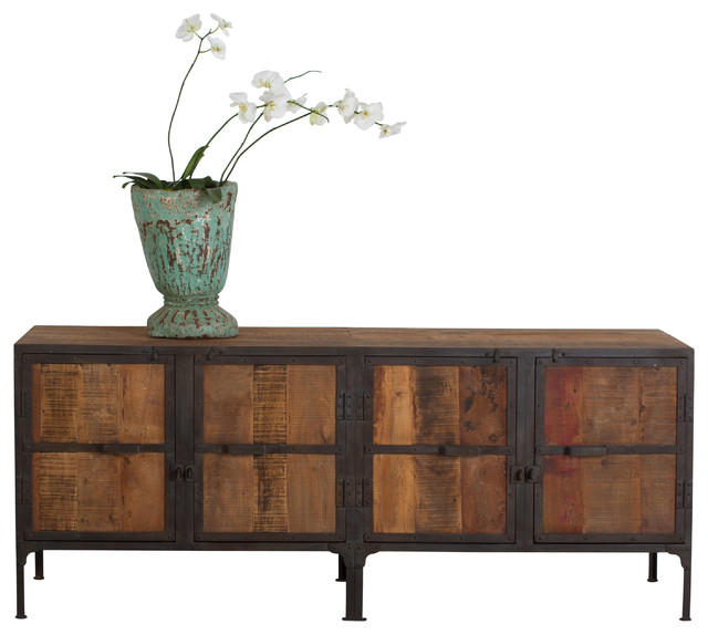 Hyderabad reclaimed wood and metal buffet industrial for Buffet industriel metal