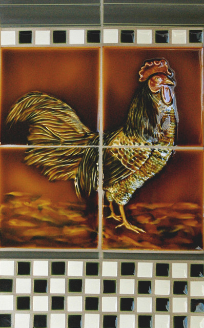 Rooster Handpainted Tile traditional kitchen tile