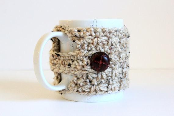 Knitted Mug Cozy, Oatmeal Heather by Lilyogini Knits contemporary-mugs