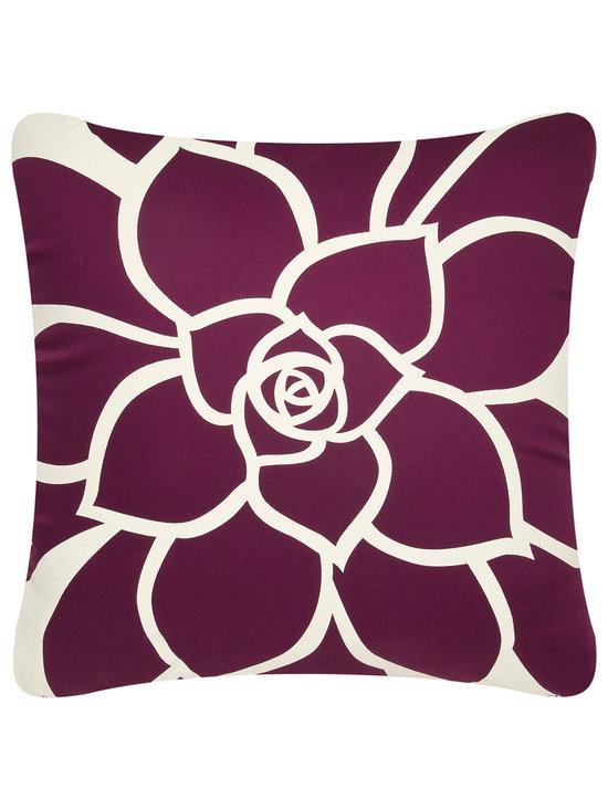 Wabisabi Green - Bloom Eco Pillow, White/Plum, 18x18, Without Insert - - GOTS (Global Organic Textile Standard) certified soft organic cotton twill.