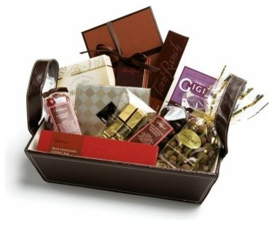 A gift basket filled with different kinds of chocolate