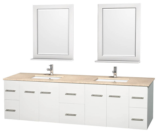 New  72 Inch Double Square Sink Bathroom Vanity In White By Virtu USA