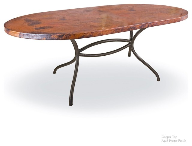 Dining table with 44 quot x 72 quot soft oval copper top industrial dining