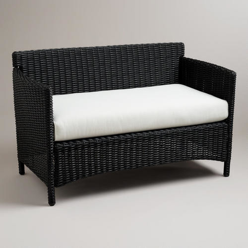 Black All Weather Wicker Dillion Love Seat With Cushion Contemporary Outdoor Loveseats By