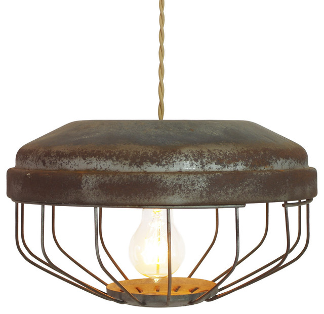 Vintage Chicken Feeder Pendant Lamp Tan Cloth Wire With Brass Canopy Farmh