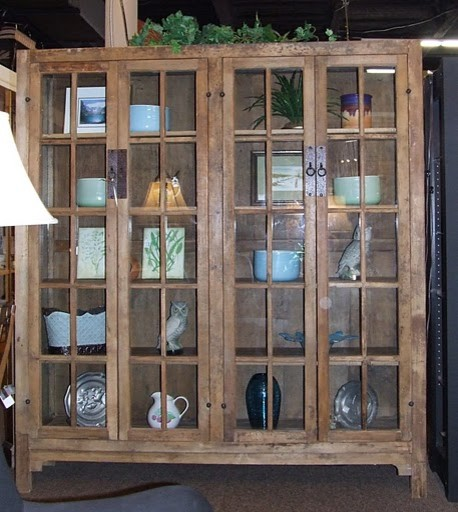 Mission Style Glass Door Cabinet tropical buffets and sideboards