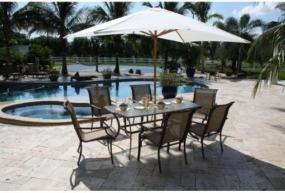 Hospitality Rattan Chub Cay 42 x 72 in. Rectangular Patio Dining Set with Temper modern-dining-tables