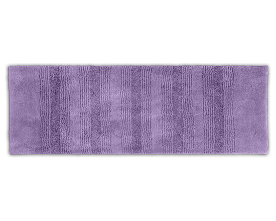"Sands Rug - Westport Stripe Periwinkle Washable Runner Bath Rug (1'10"" x 5') - Classic and comfortable, the Westport Stripe bath collection adds instant luxury to your bathroom, shower room or spa. Machine-washable, always plush nylon holds up to wear, while the non-skid latex makes sure rugs stay in place."