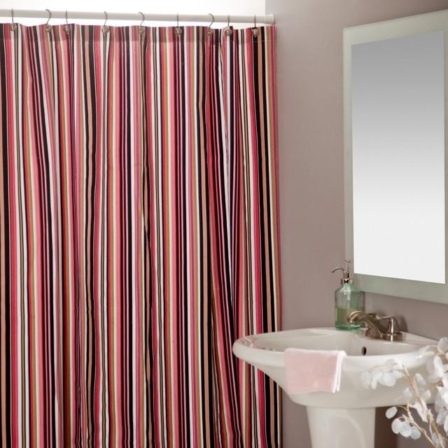 Beach Umbrella Black/Pink Shower Curtain traditional-shower-curtains