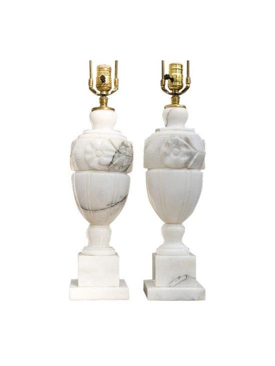 Pair of Carrera Marble Lamps -