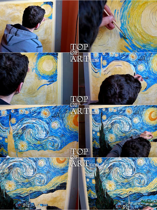 TOPofART - Starry Night | van Gogh | Painting Reproduction  | TOPofART.com - Painting Title: Starry Night, 1889 | Artist: Vincent van Gogh | Medium: Hand-Painted Art Reproduction