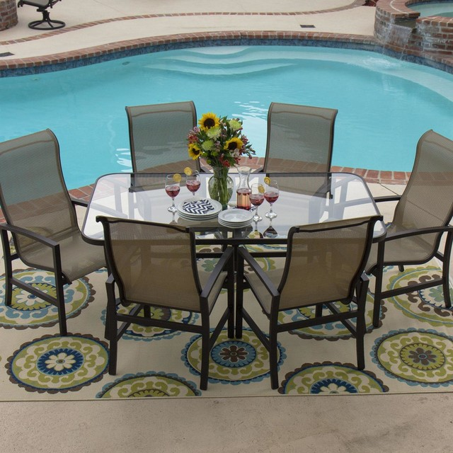 Acadia 6 Person Sling Patio Dining Set With Glass Top Table Modern Dining Sets By Shoppers