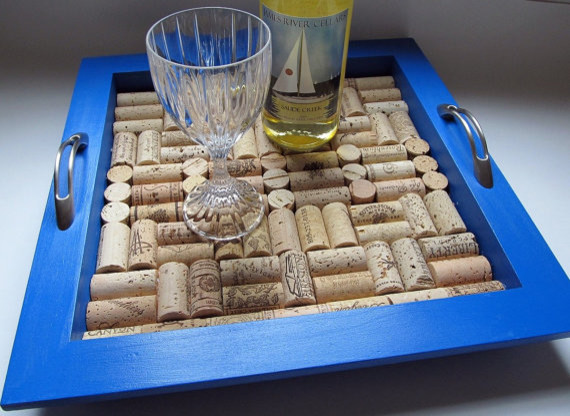 True Blue Wine Cork Tray by LizzieJoeDesigns eclectic-serving-dishes-and-platters