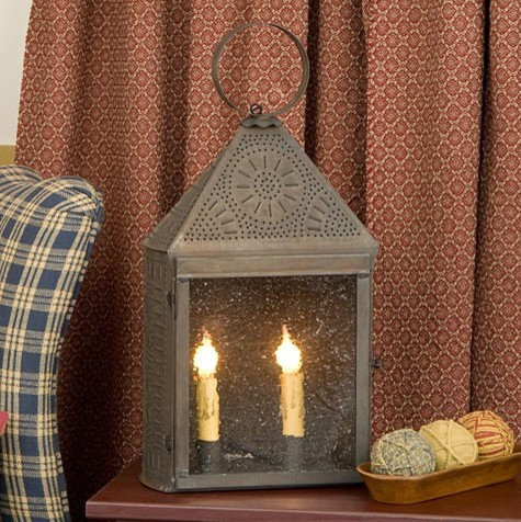 Punched Tin Lantern with Chisel Deisgn traditional-floor-lamps