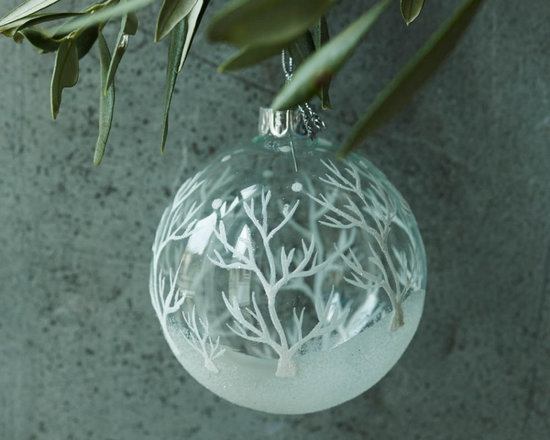 White Glitter Trees Clear Bauble -