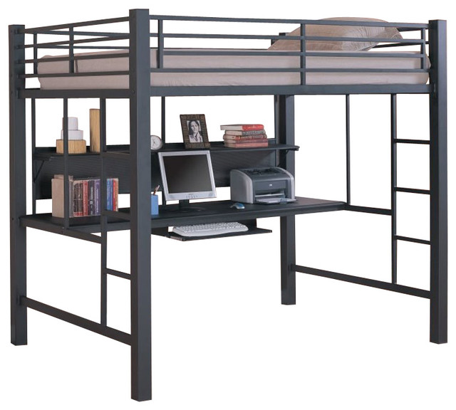 metal loft bed with computer workstation in black transitional loft