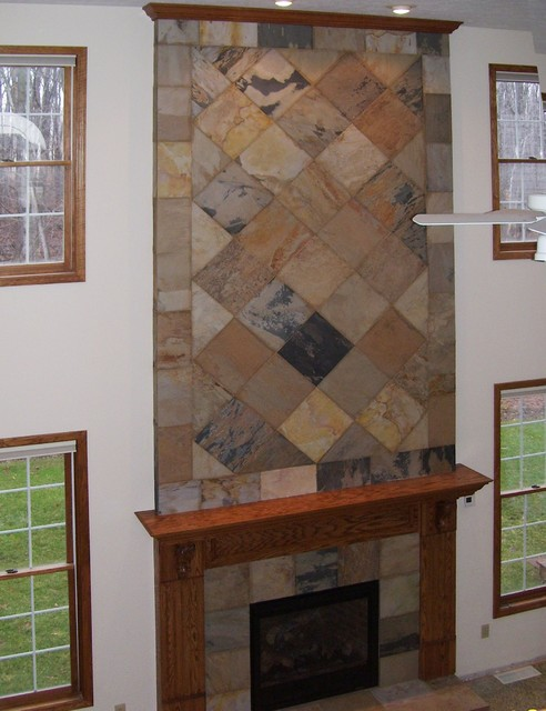 slate fireplace wall traditional indoor fireplaces
