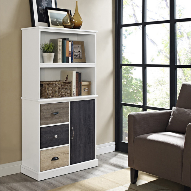 Altra Mercer Storage Bookcase with Multicolored Door and Drawers - Contemporary - Bookcases - by ...