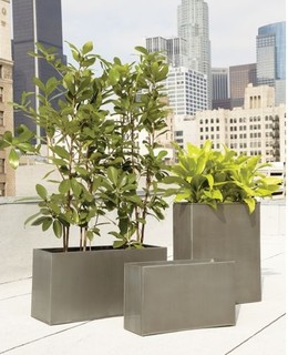 modern outdoor galavanized planters